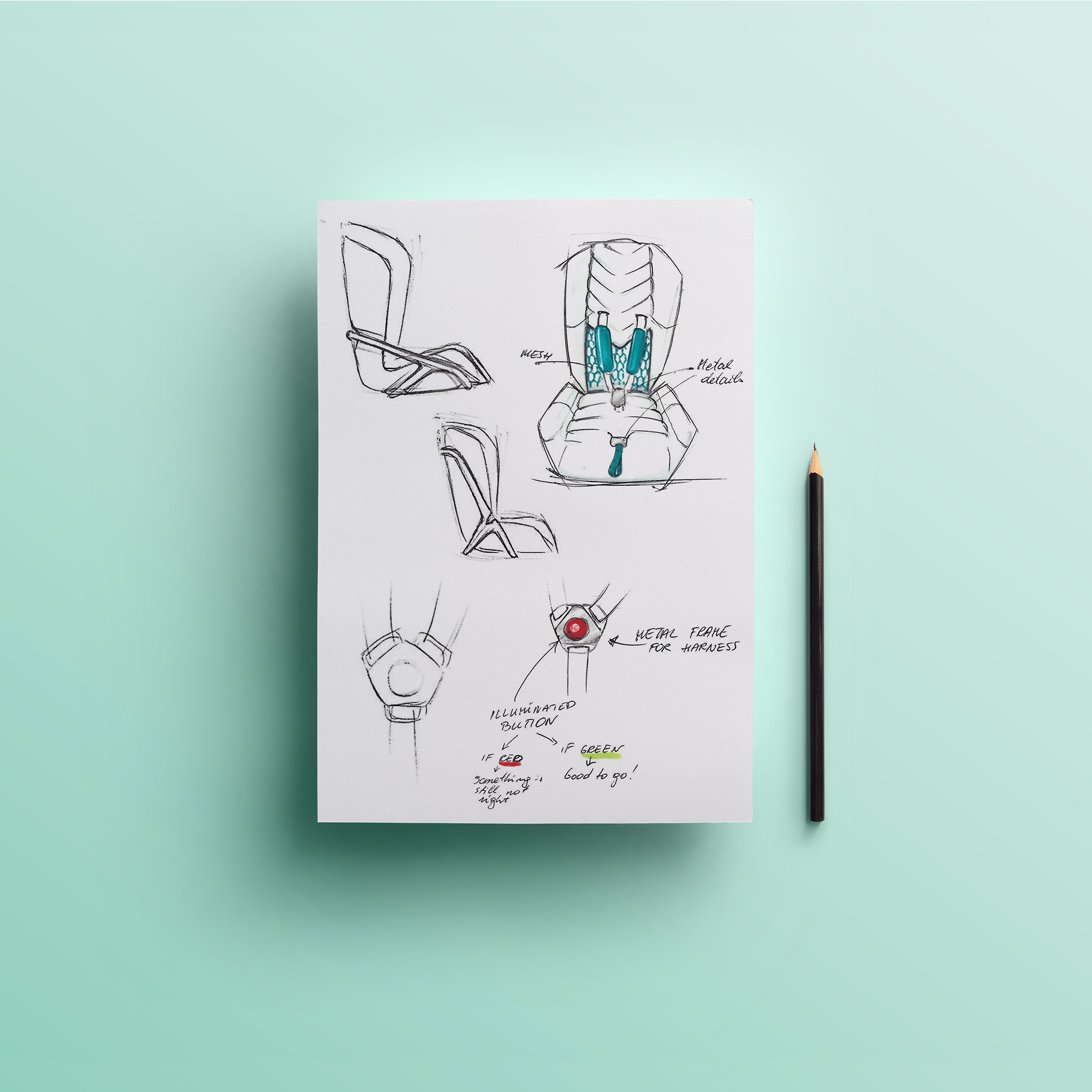 Industrial design sketches for smart baby cart seat design