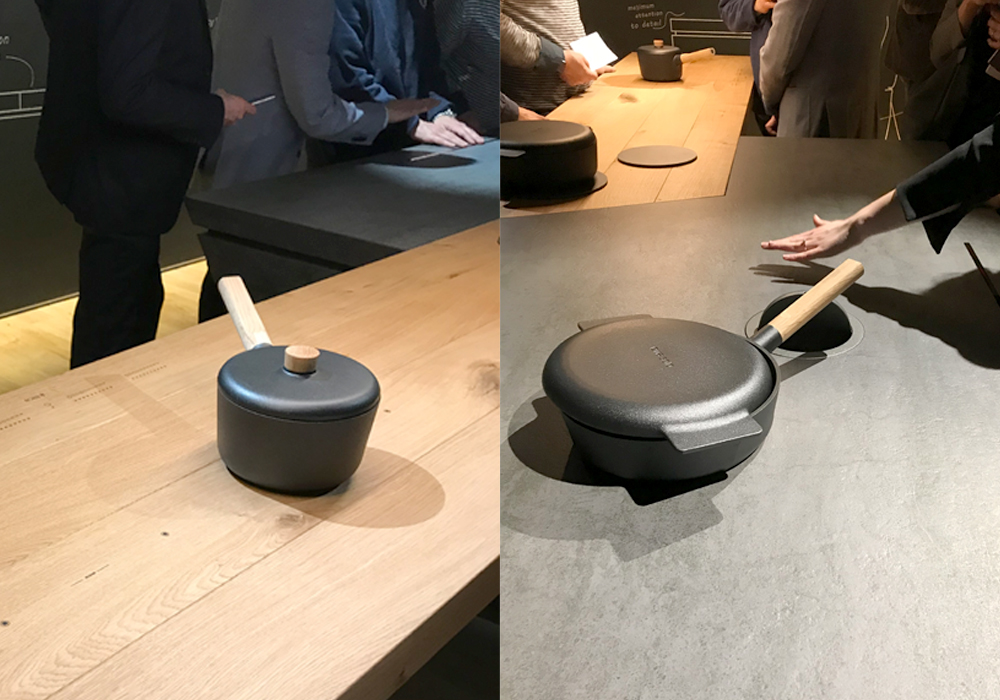 Salone del Mobile 2018: Industrial design by Elica kitchen with wood and stone stovetops
