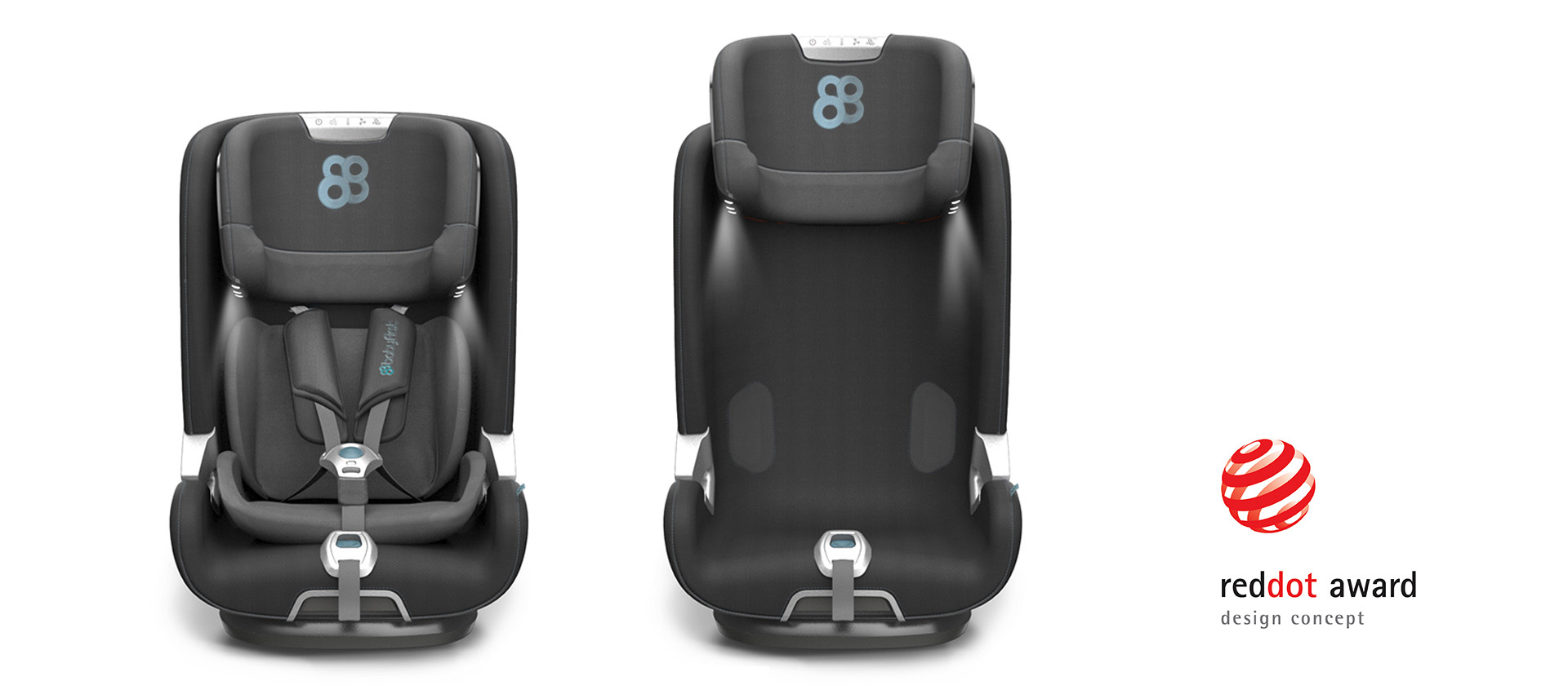 Red Dot Award winner 2018: Smart design for baby car seat with sensors and comfortable shapes